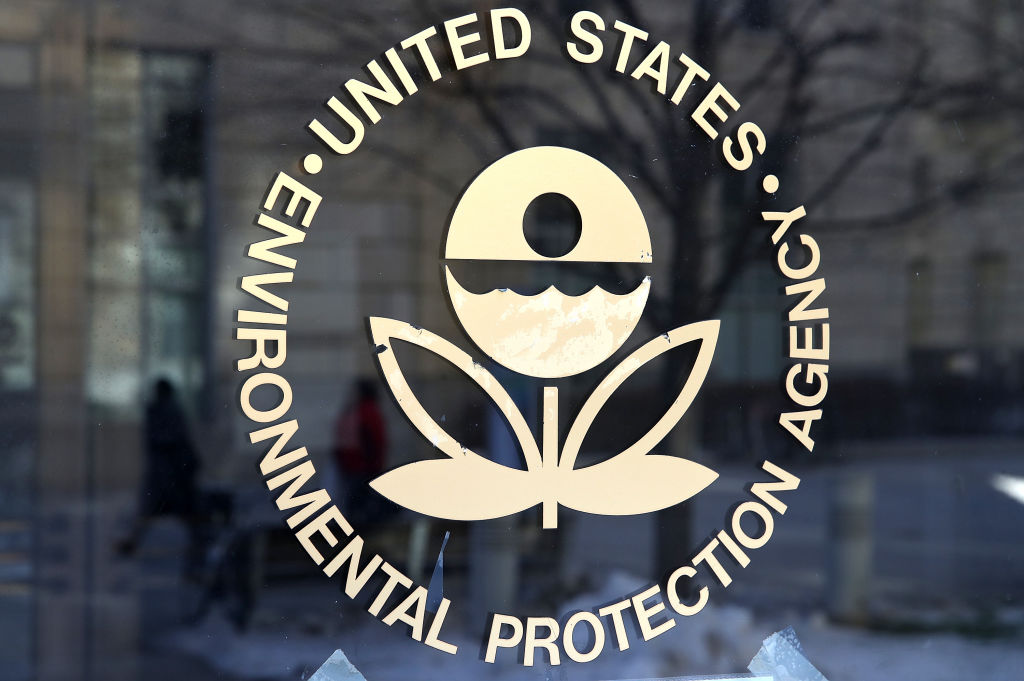 The United States Environmental Protection Agency logo on its glass door in cream lettering