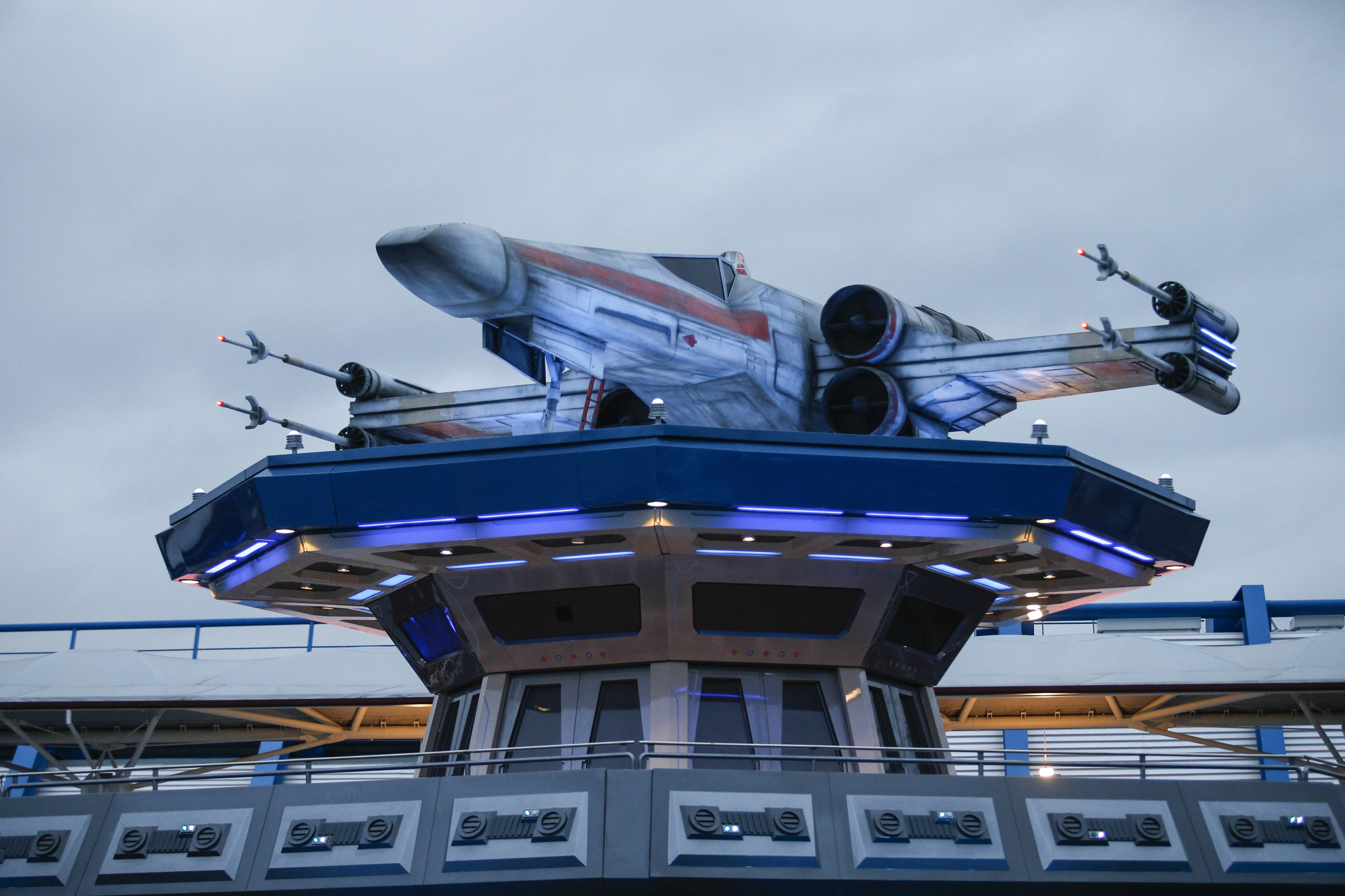 A photo taken on March 20, 2017 shows the park's new attraction Star Tours : The Adventures Continue