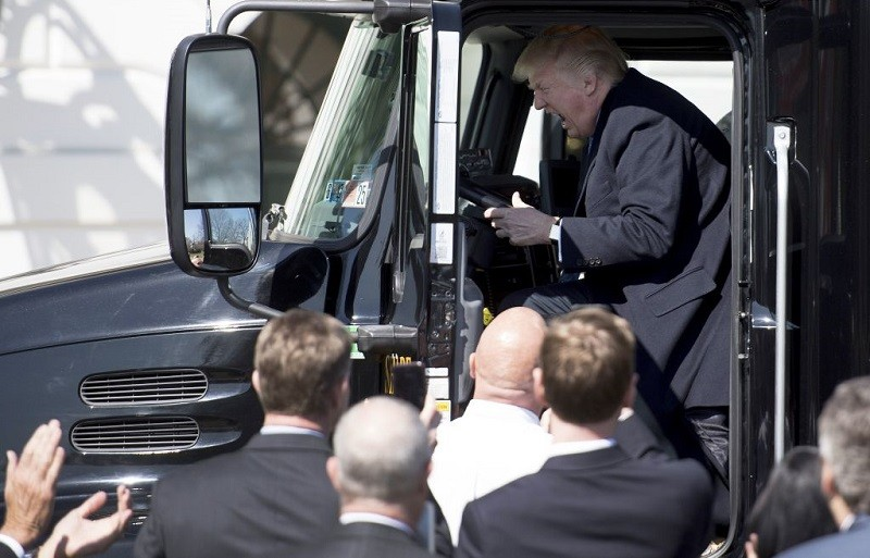 Trump in a semi-truck on the White House lawn, March 2017