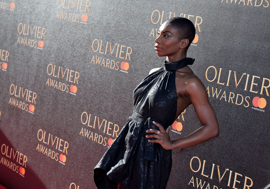 Michaela Coel attends The Olivier Awards 2017 at Royal Albert Hall on April 9, 2017 in London, England.