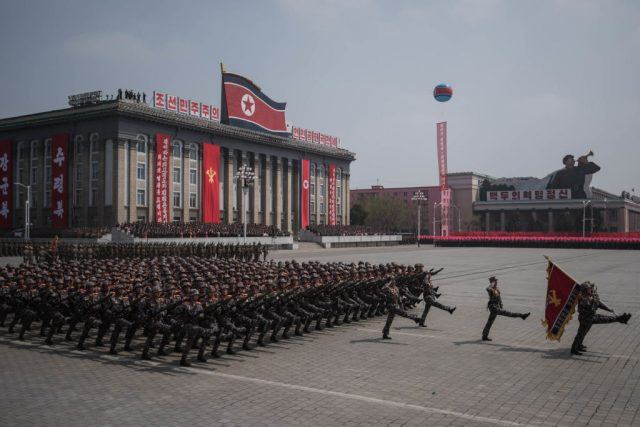 North Korea military marching at the capital.
