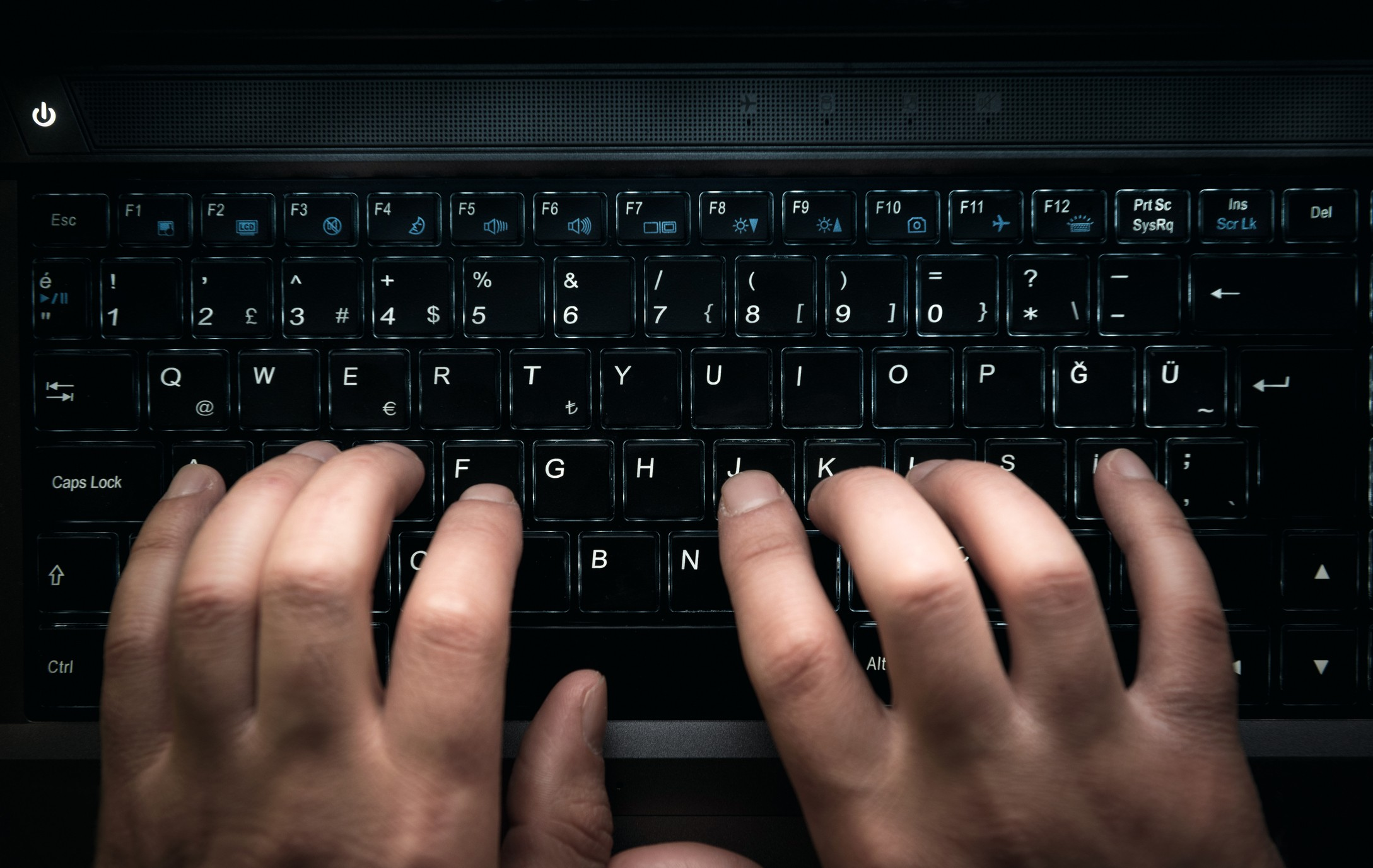 Hands on Laptop keyboard high quality and high resolution studio shoot