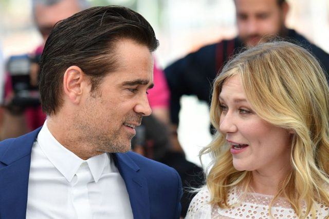 Irish actor Colin Farrell (L) and US actress Kirsten Dunst pose