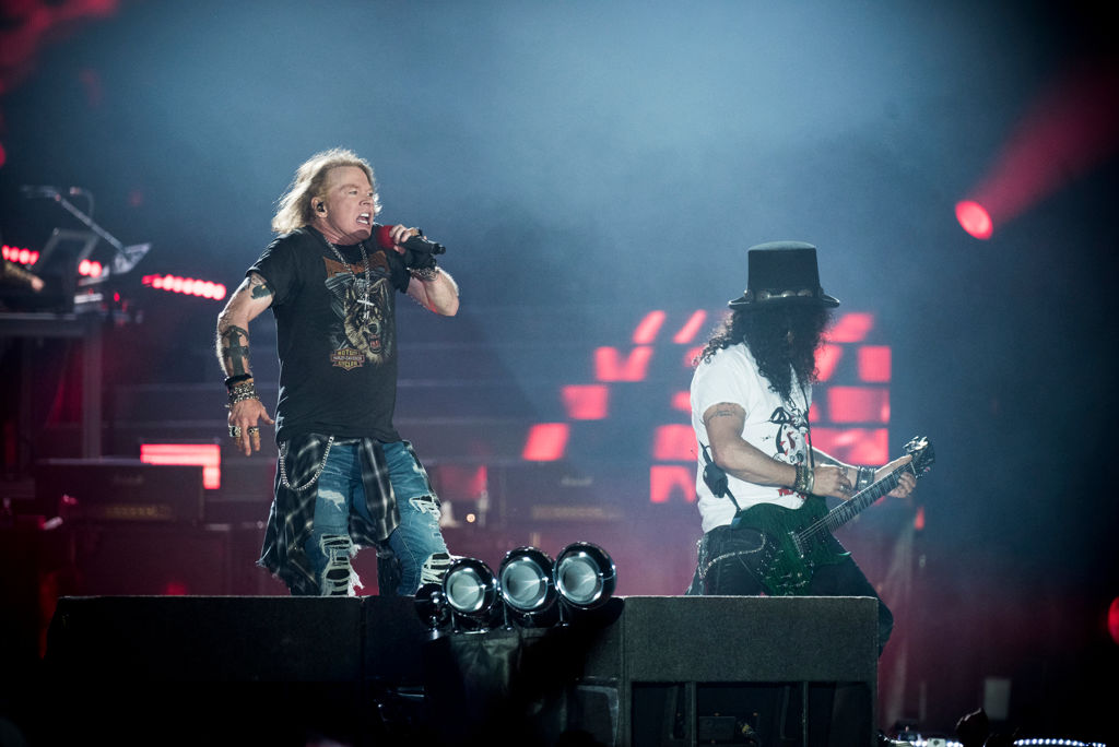 Axl Rose and Slash perform on stage