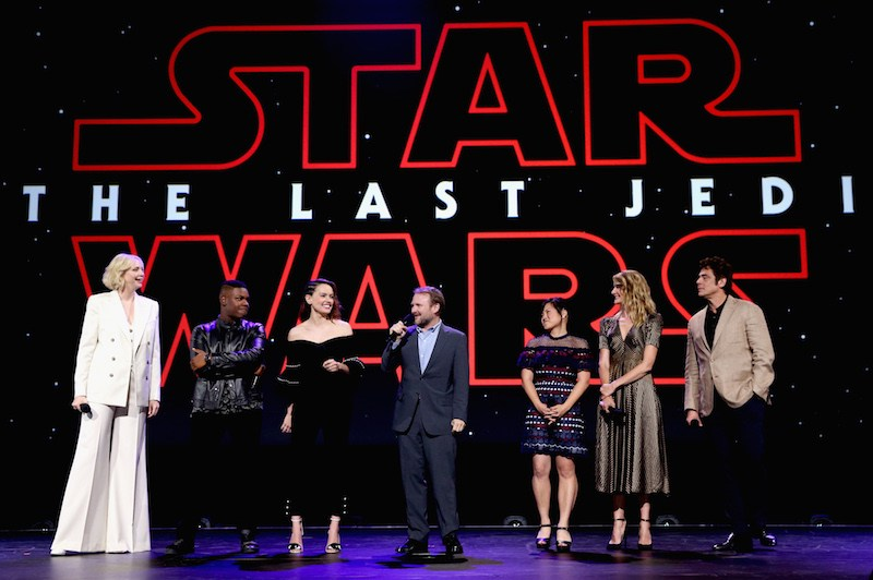 Actors Gwendoline Christie, John Boyega, Daisy Ridley, Director Rian Johnson, actors Kelly Marie Tran, Laura Dern and Benicio del Toro of STAR WARS: THE LAST JEDI took part today in the Walt Disney Studios live action presentation