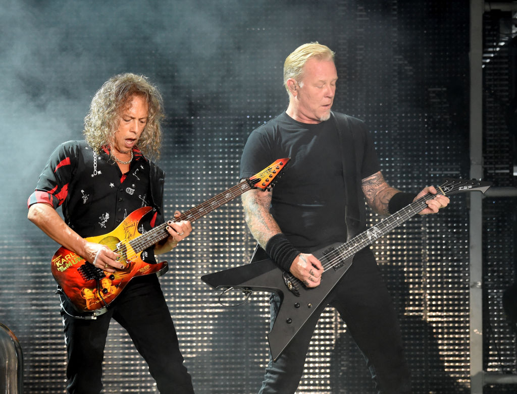 Kirk Hammett and James Hetfield of Metallica perform onstage