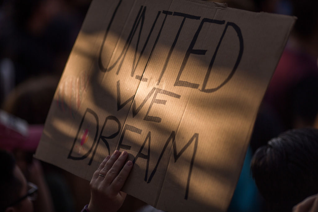 a hand holding up a cardboard sign with United We Dream on it in black sharpie
