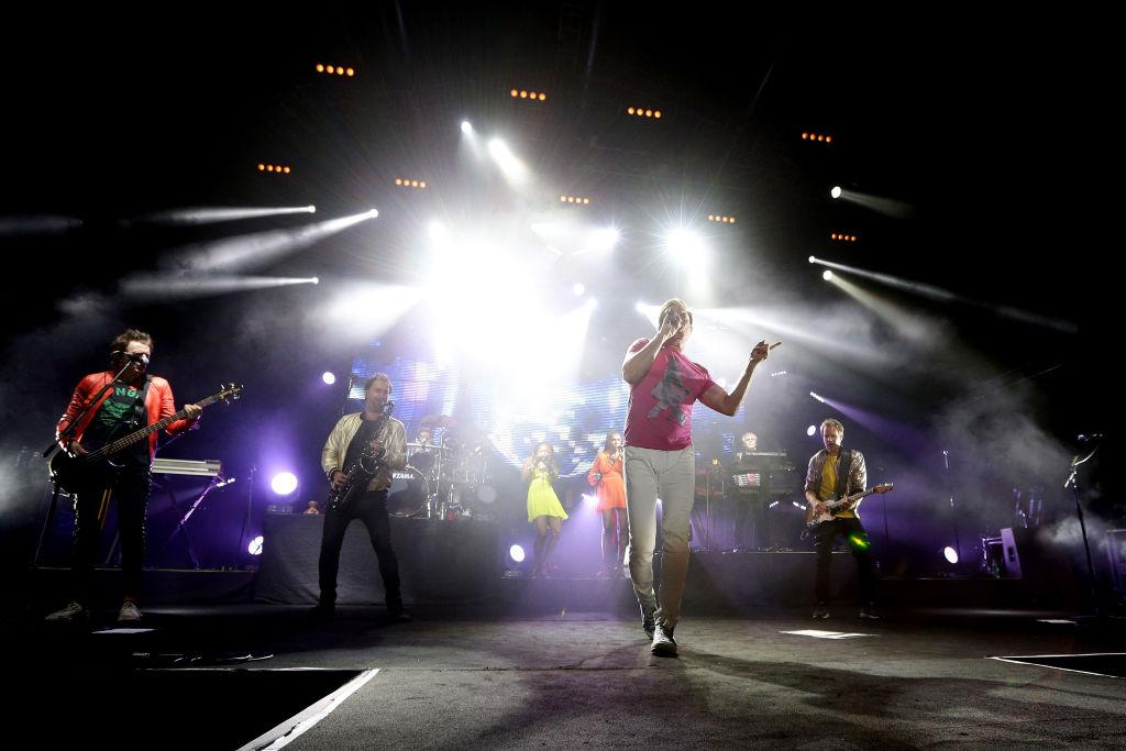 Simon Le Bon of Duran Duran performs on stage
