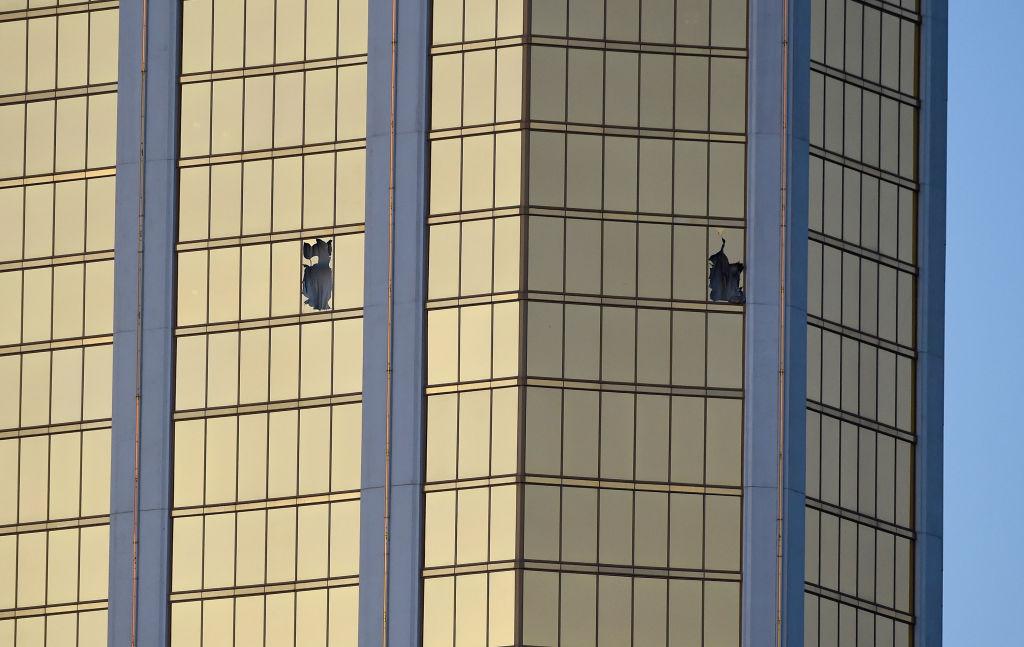 Windows broken at the hotel where Paddock shot concertgoers