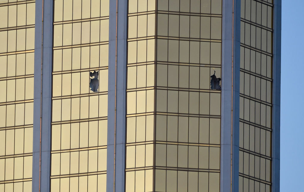 Windows broken at the hotel where Paddock shot concertgoers