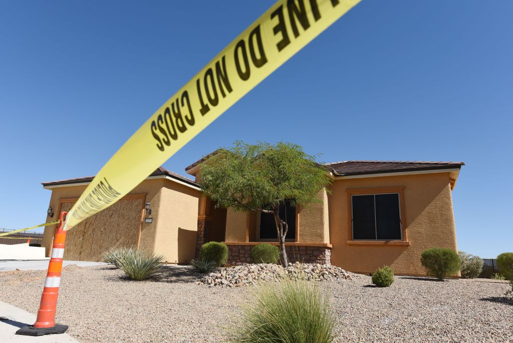 the home of Stephen Paddock with a yellow caution tape across it