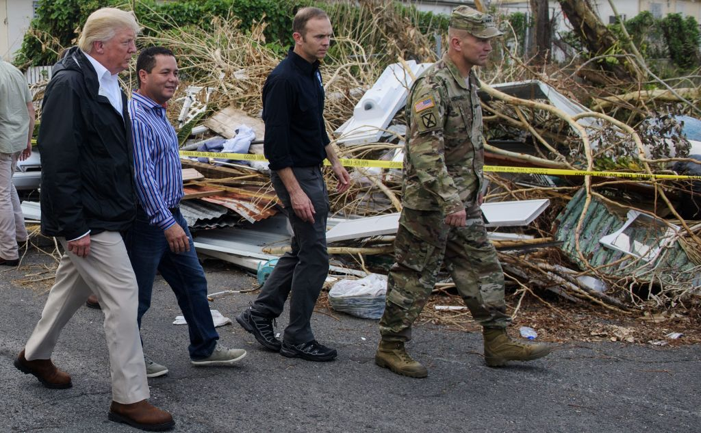US President Donald Trump visits residents affected by Hurricane in Guaynabo, west of San Juan, Puerto Rico