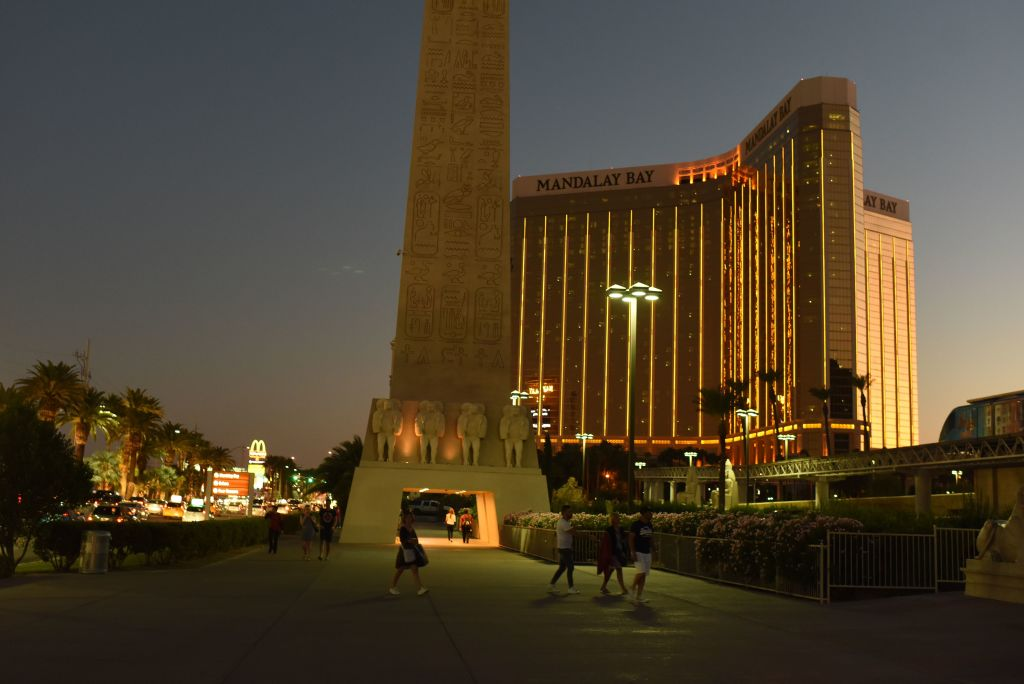 the Mandalay Bay hotel and casino exterior at dusk