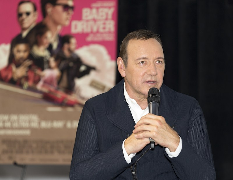 Actor/producer Kevin Spacey speaks on stage at the Cars, Arts & Beats: A Night Out With 'Baby Driver' event at the Petersen Automotive Museum on