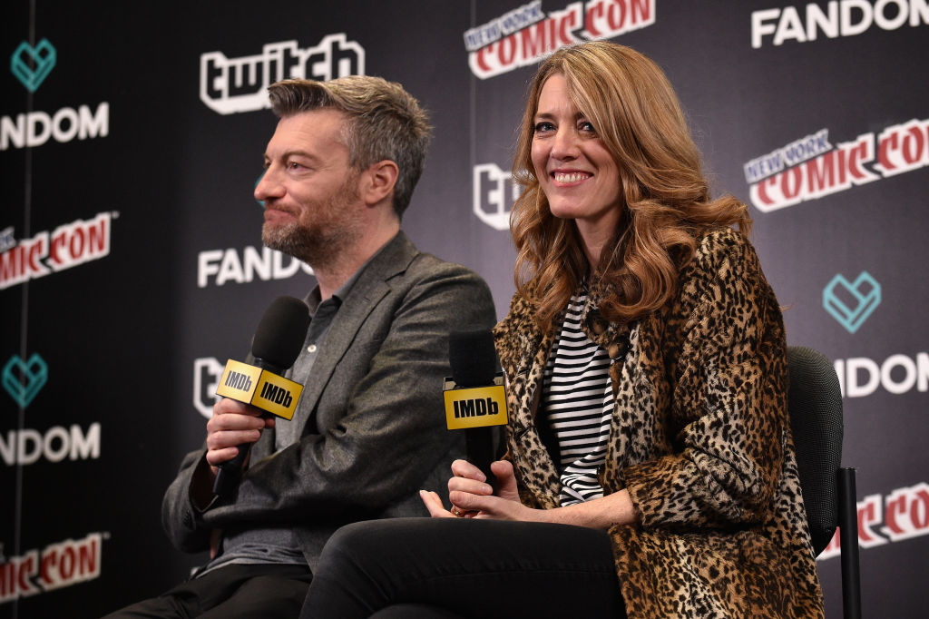 Black Mirror Creator, writer, producer Charlie Brooker and Executive Producer Annabel Jones speak onstage during IMDb LIVE at NY Comic-Con at Javits Center on October 7, 2017 in New York City.