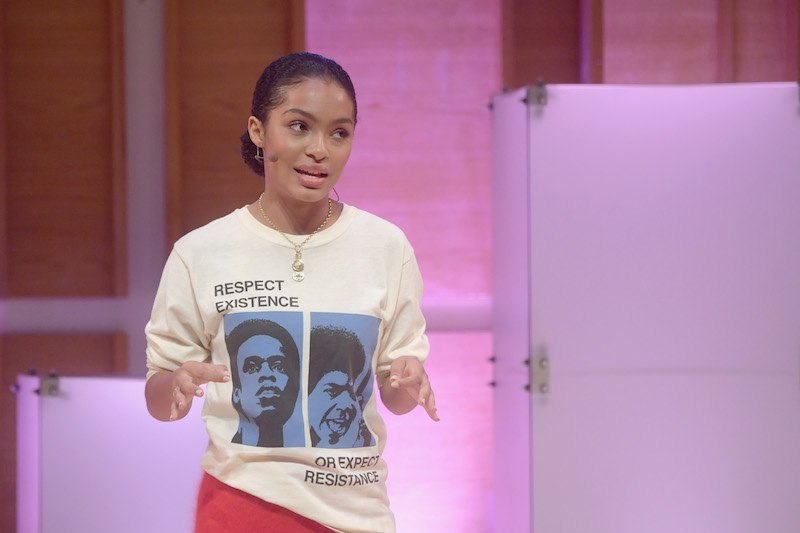 """Actress Yara Shahidi speaks onstage during Glamour's """"The Girl Project"""""""
