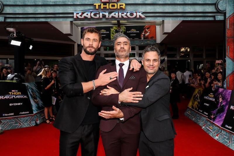 Chris Hemsworth, Taika Waititi and Mark Ruffalo attend the Thor: Ragnarok Sydney Screening Event on October 15, 2017 in Sydney, Australia