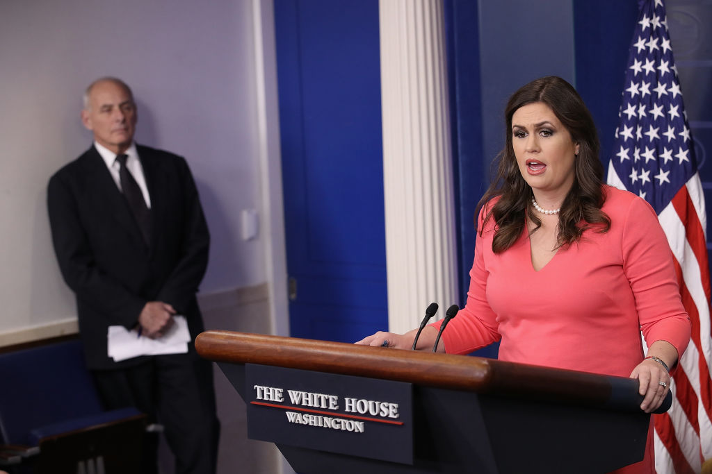 Sarah Huckabee in pink at the white house press pool