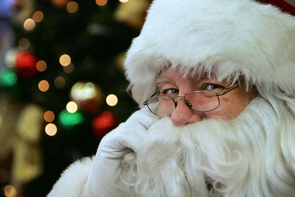 A tight shot of Santa Claus