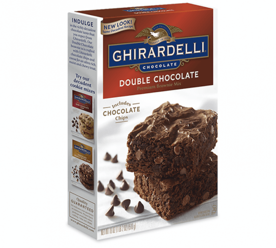A box of Ghirardelli brownie mix.