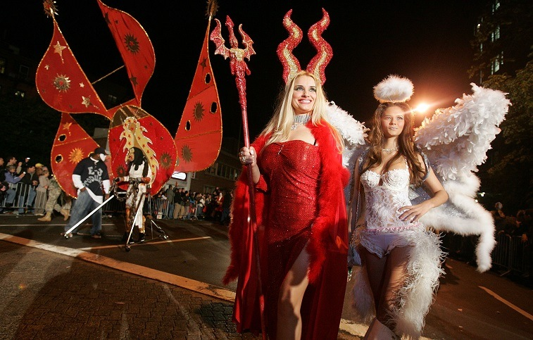 Parade-goers in costume