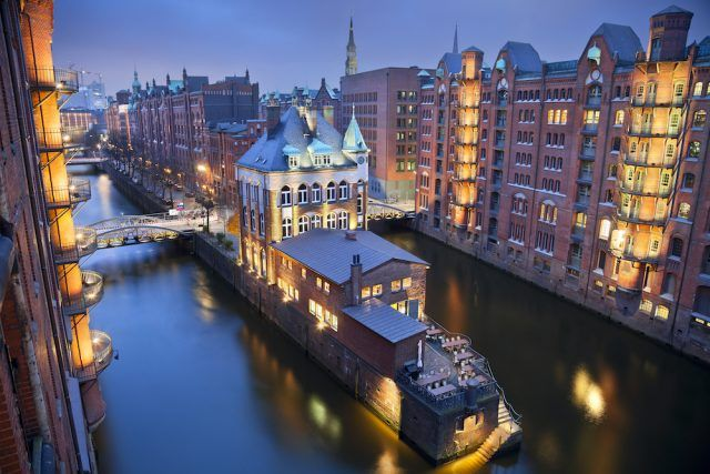 Hamburg- Speicherstadt during twilight blue hour.