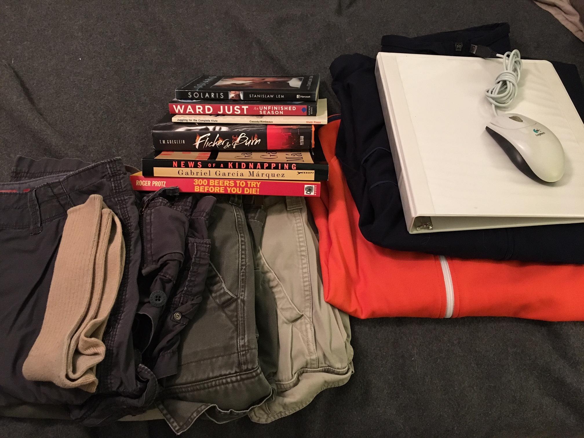 cargo shorts, a few books