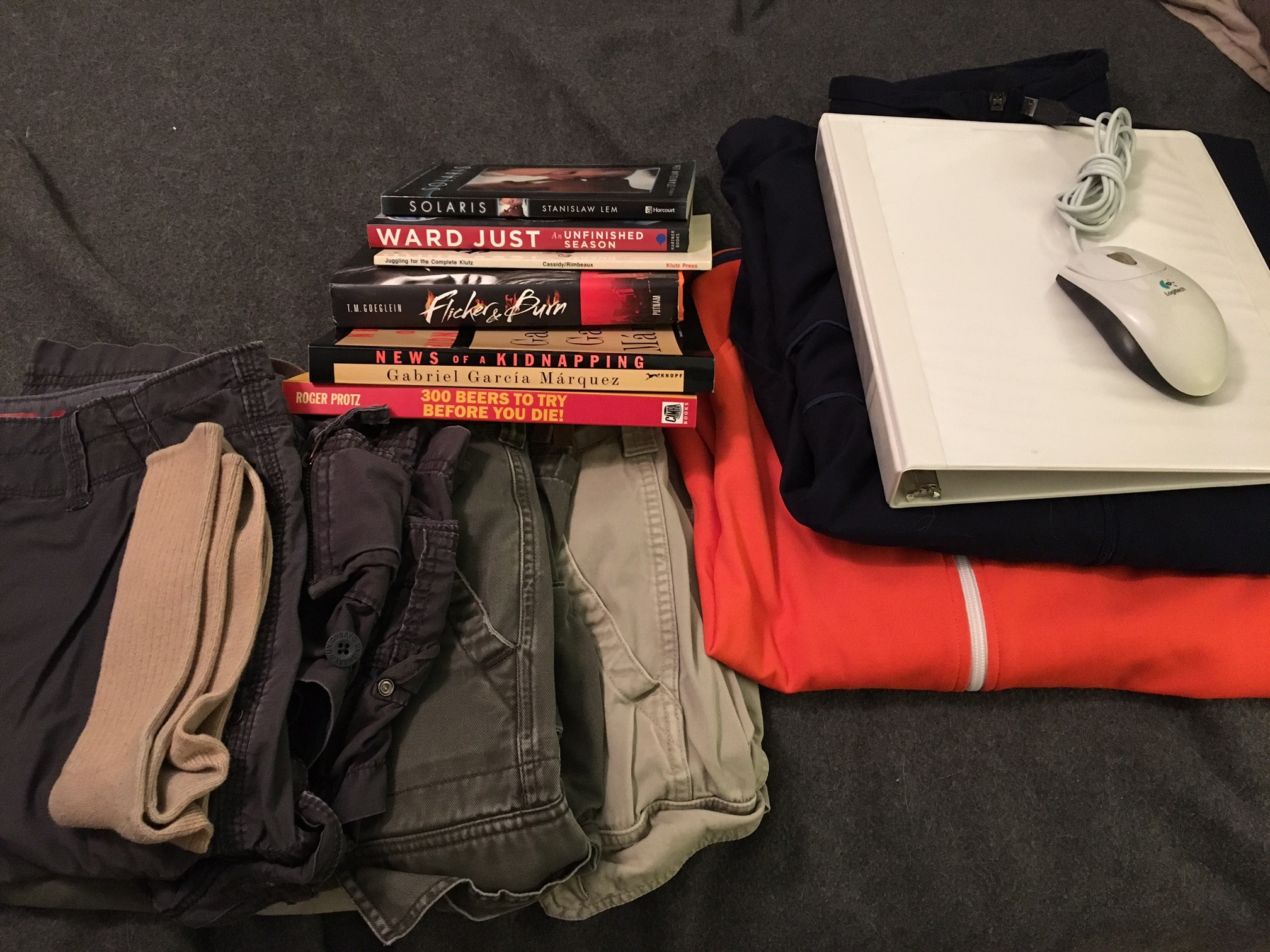 cargo shorts, a few books