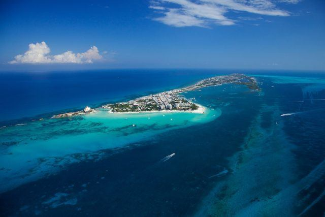 Aerial view of Isla Mujeres on a nice sunny day