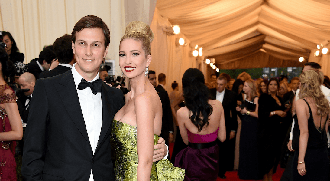 Jared Kushner and Ivanka Trump pose at an awards show.