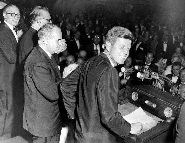 John F. Kennedy speaking to the public