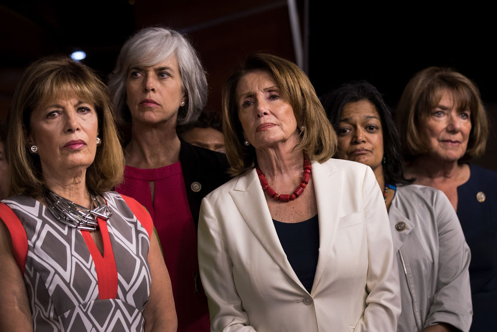 Democratic House Leader Nancy Pelosi And House Democrats Hold News Conference On President's Controversial Tweets At MSNBC's TV Anchors