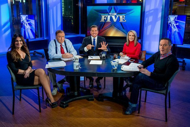 Jesse Watters, Kimberly Guilfoyle, Greg Gutfeld, Dana Perino, and Juan Williams sitting around a table.