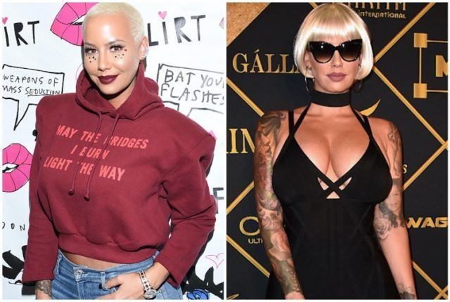 Amber Rose collage featuring body transformation.