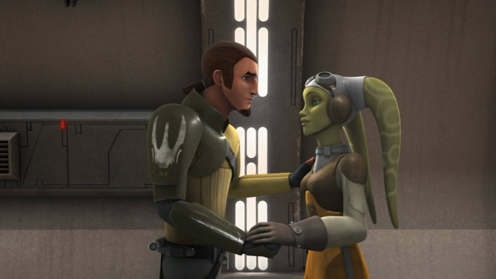 Kanan and Hera look at each other and hold hands in Star Wars Rebels