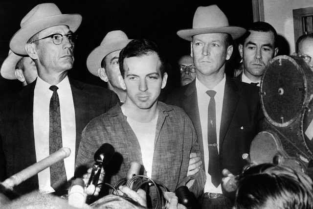 Lee Harvey Oswald during a press conference after his arrest in Dallas.