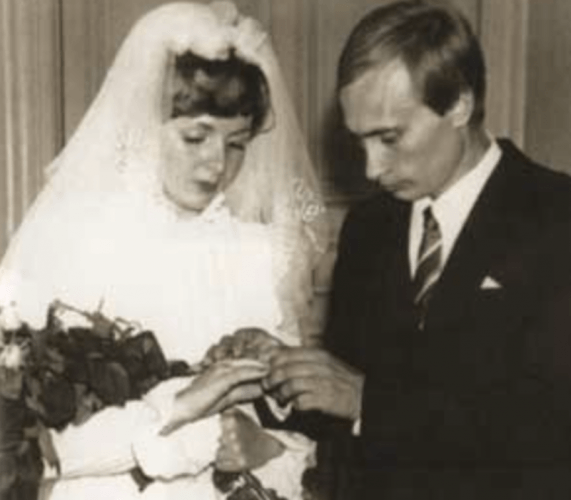 Putin and his wife on their wedding day.