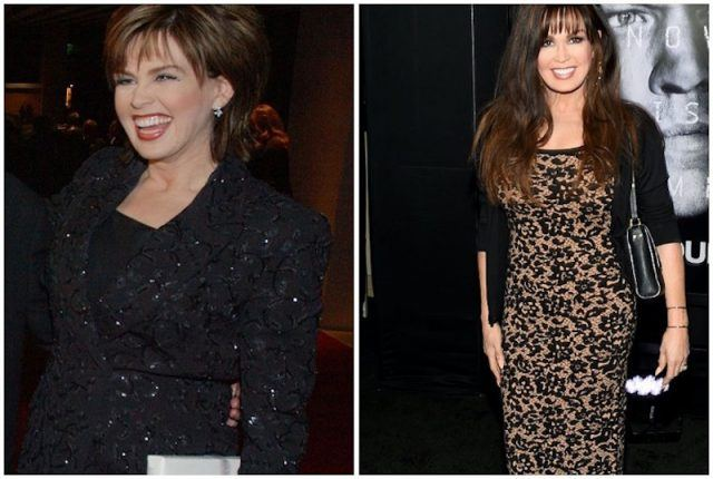 A collage featuring Marie Osmond's weight loss.
