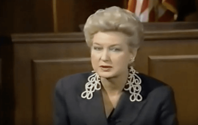 Maryanne Trump Barry speaking in front of a court.