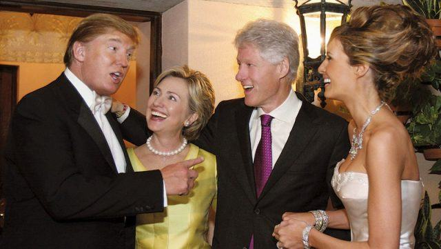 Donald Trump and Melania Trump mingling with Hillary and Bill Clinton on their wedding day.
