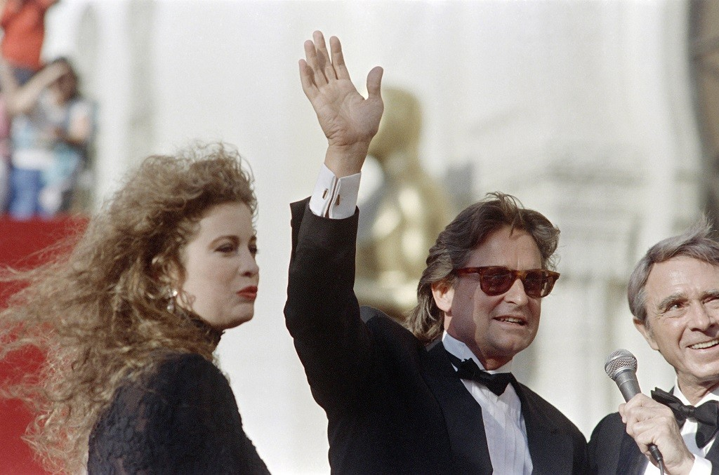 Michael Douglas accompanied by his wife Diandra arrives for the 60th Annual Academy Awards.