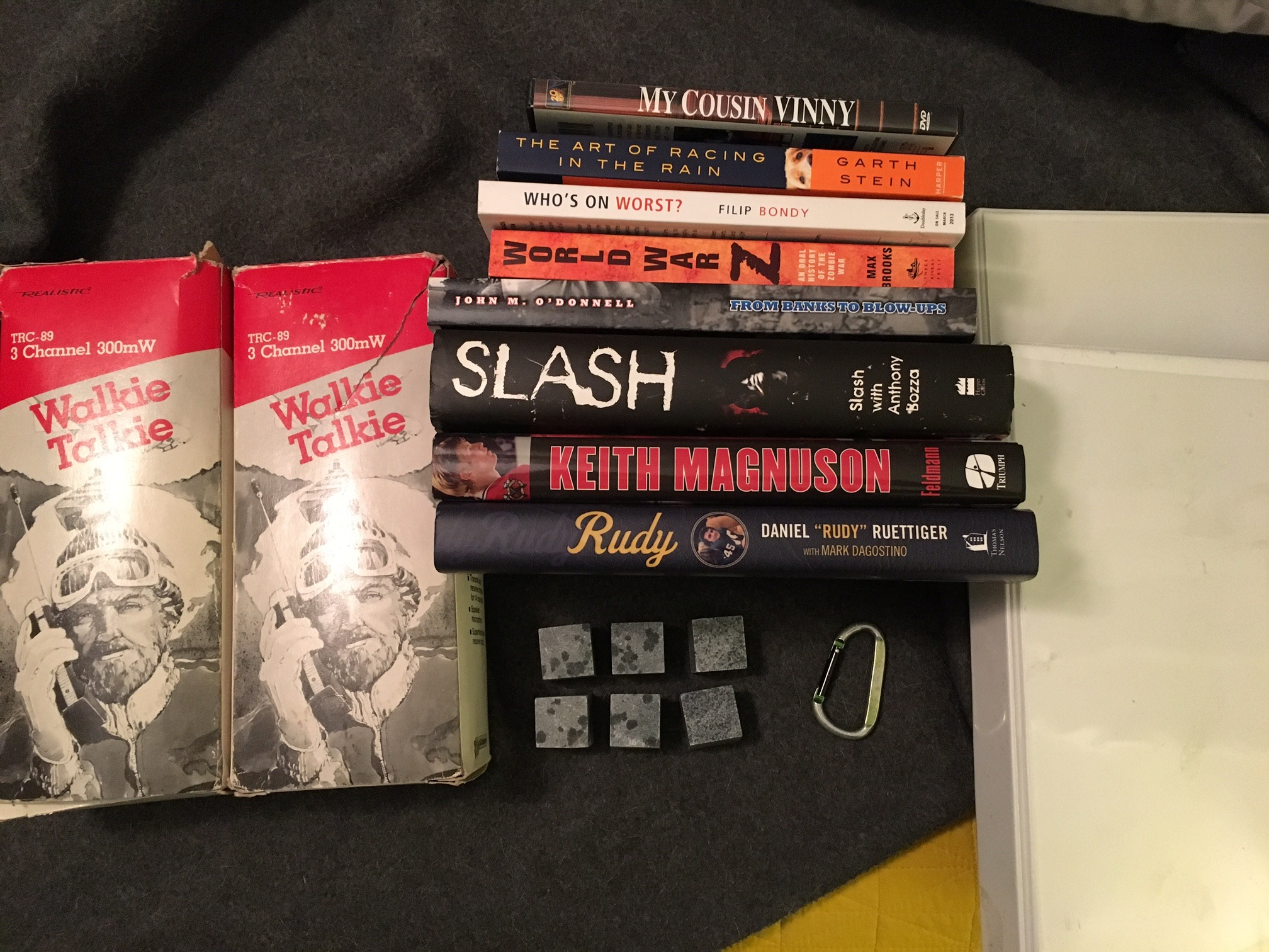 books, walkie talkies