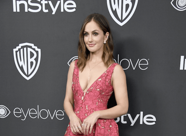 Minka Kelly poses on a red carpet in a pink gown while holding a clutch in front of her.