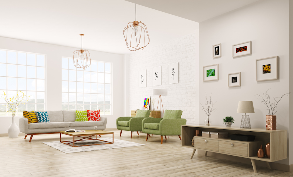 Modern living room with an area rug