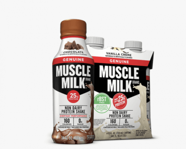 Packs of Muscle Milk chocolate and vanilla products.
