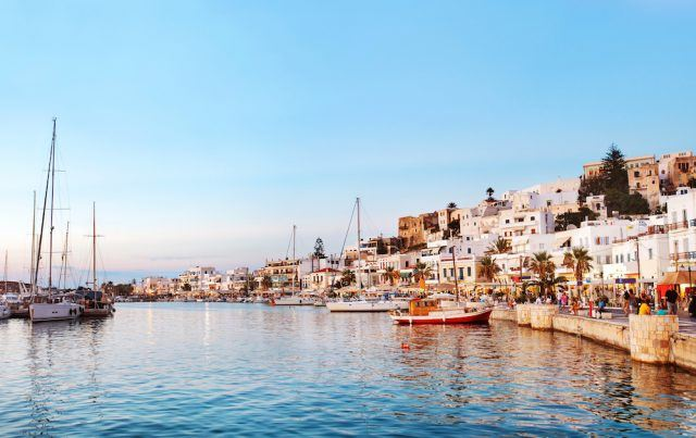 Naxos Old town after sunset, Greece.