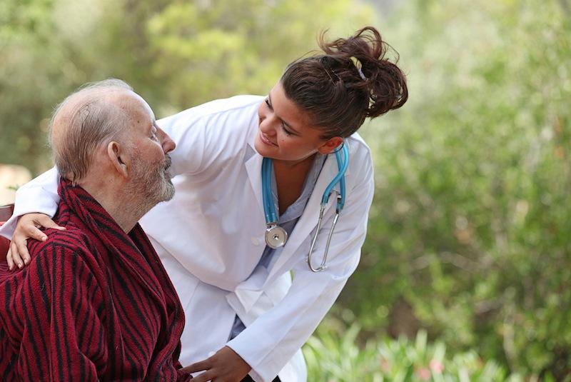 nurse with senior man
