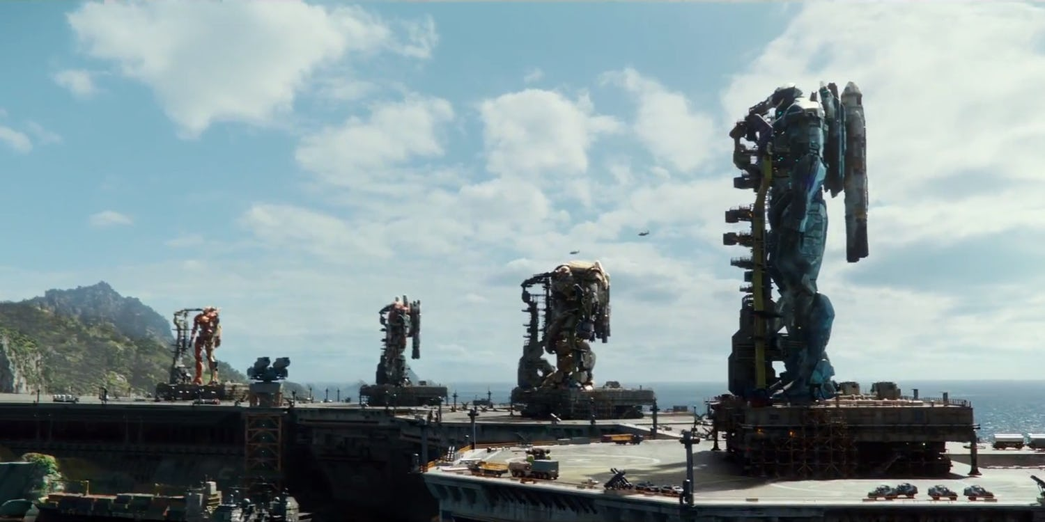 The Jaegers in a line in Pacific Rim: Uprising