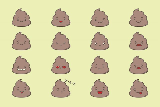 Poop illustrations with facial expressions on a yellow background.