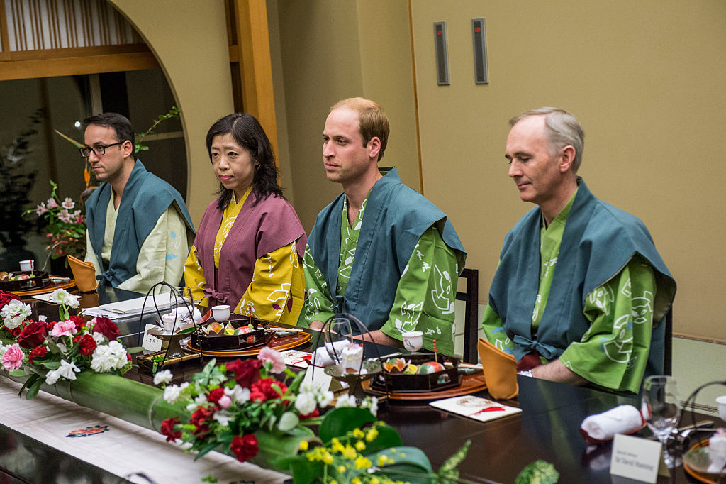 Prince William, Duke of Cambridge eats dinner at a traditional Japanese Ryokan.